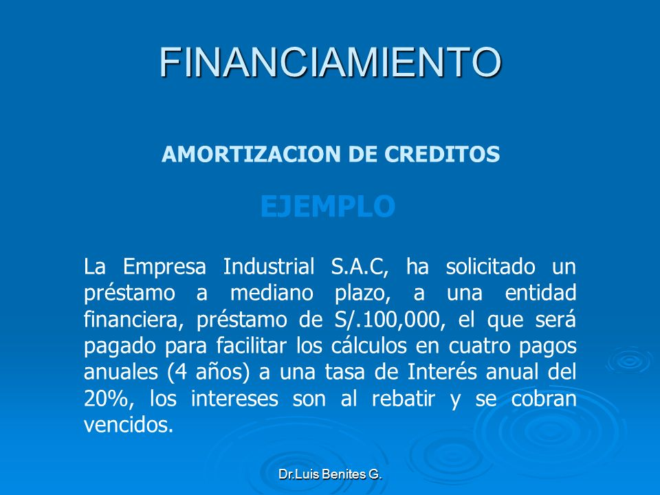 La Empresa Industrial S.A.C, ha solicitado un préstamo a mediano plazo, a una entidad financiera, préstamo de S/.100,000, el que será pagado para faci
