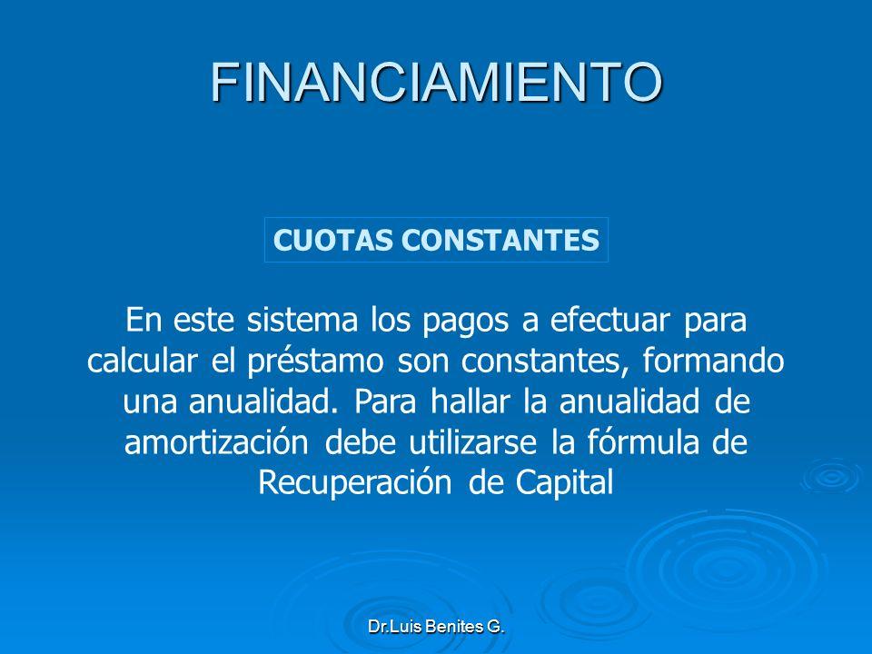 En este sistema los pagos a efectuar para calcular el préstamo son constantes, formando una anualidad. Para hallar la anualidad de amortización debe u