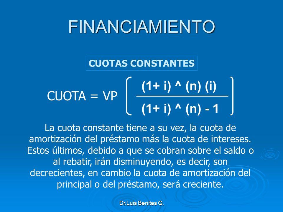 (1+ i) ^ (n) (i) (1+ i) ^ (n) - 1 CUOTA = VP La cuota constante tiene a su vez, la cuota de amortización del préstamo más la cuota de intereses. Estos