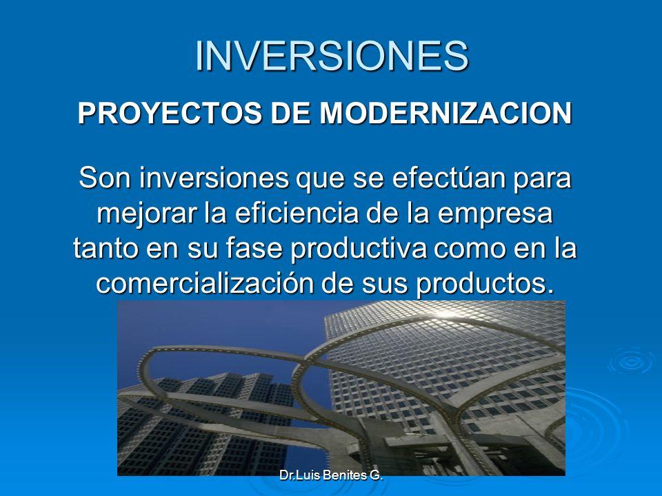 INVERSIONES PROYECTOS DE MODERNIZACION Son inversiones que se efectúan para mejorar la eficiencia de la empresa tanto en su fase productiva como en la