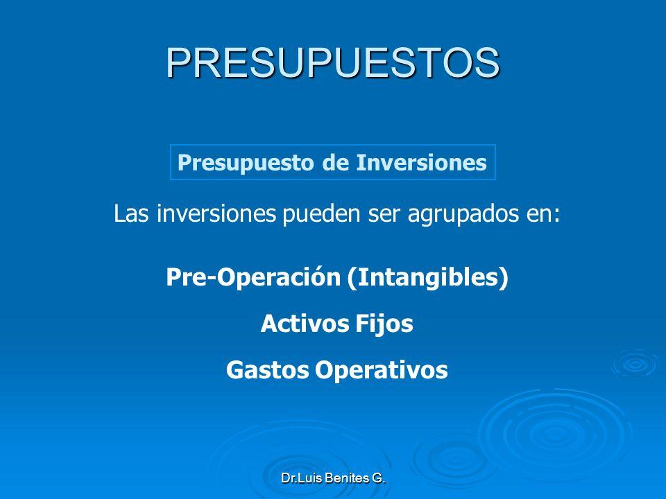 Las inversiones pueden ser agrupados en: Pre-Operación (Intangibles) Activos Fijos Gastos Operativos Presupuesto de Inversiones PRESUPUESTOS Dr.Luis B