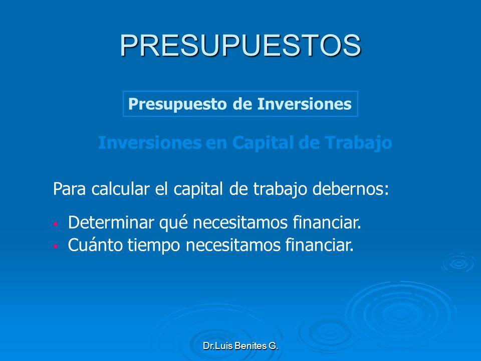 Inversiones en Capital de Trabajo Para calcular el capital de trabajo debernos: Determinar qué necesitamos financiar. Cuánto tiempo necesitamos financ