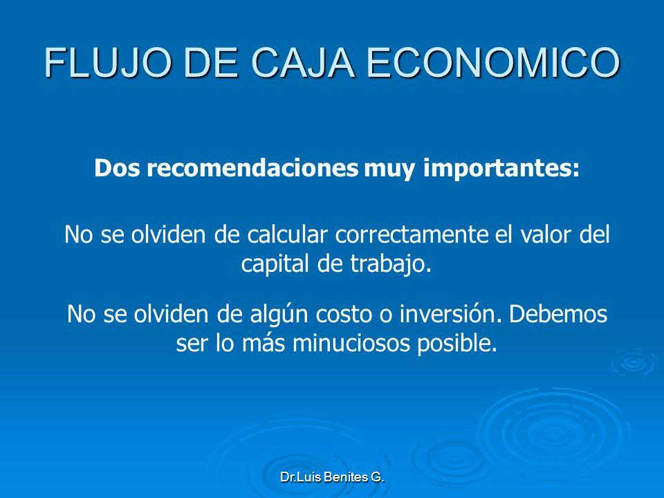 Dos recomendaciones muy importantes: No se olviden de calcular correctamente el valor del capital de trabajo. No se olviden de algún costo o inversión