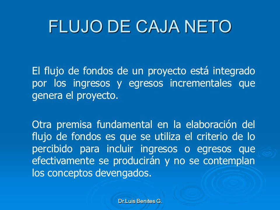 El flujo de fondos de un proyecto está integrado por los ingresos y egresos incrementales que genera el proyecto. Otra premisa fundamental en la elabo