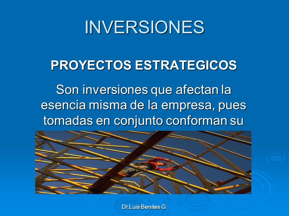 INVERSIONES PROYECTOS ESTRATEGICOS Son inversiones que afectan la esencia misma de la empresa, pues tomadas en conjunto conforman su estrategia misma.