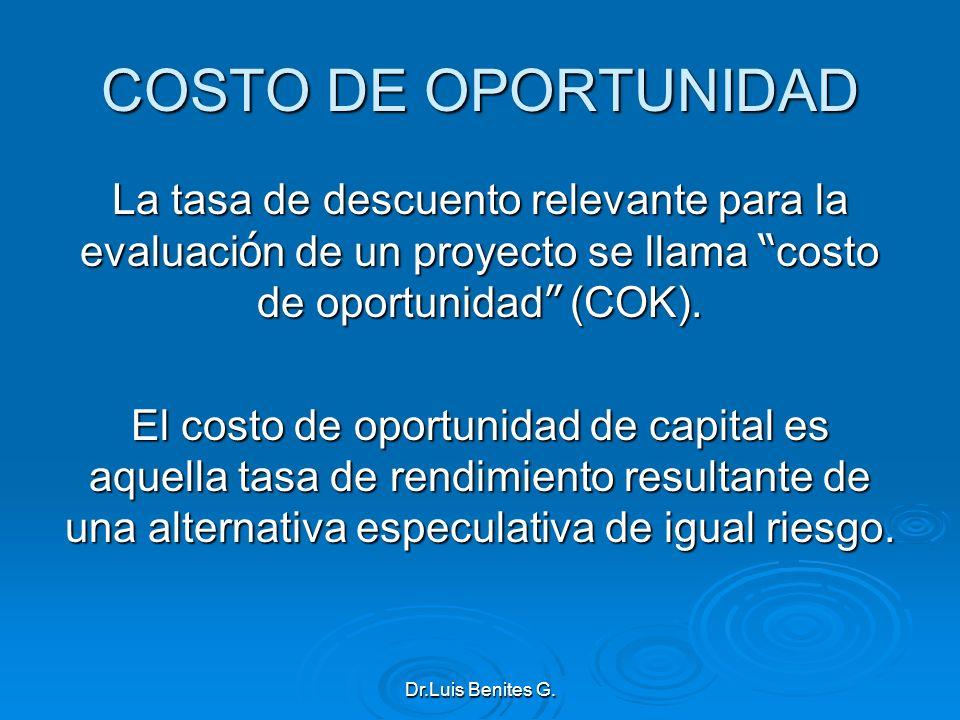 COSTO DE OPORTUNIDAD La tasa de descuento relevante para la evaluaci ó n de un proyecto se llama costo de oportunidad (COK). El costo de oportunidad d