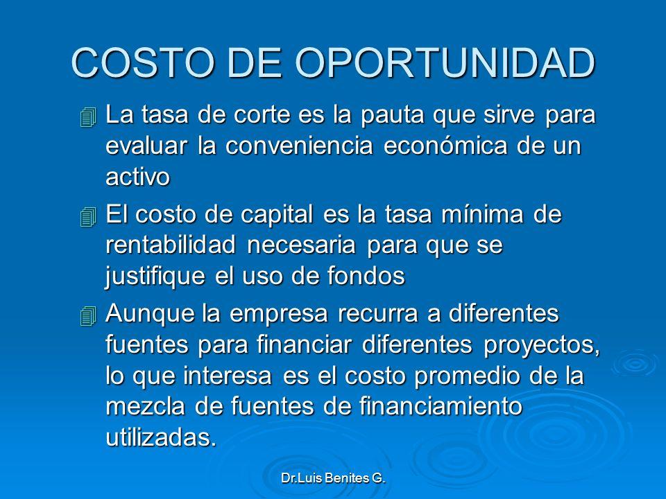 COSTO DE OPORTUNIDAD 4 La tasa de corte es la pauta que sirve para evaluar la conveniencia económica de un activo 4 El costo de capital es la tasa mín