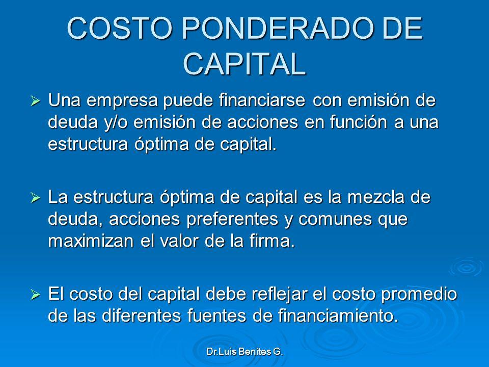 COSTO PONDERADO DE CAPITAL Una empresa puede financiarse con emisión de deuda y/o emisión de acciones en función a una estructura óptima de capital. U