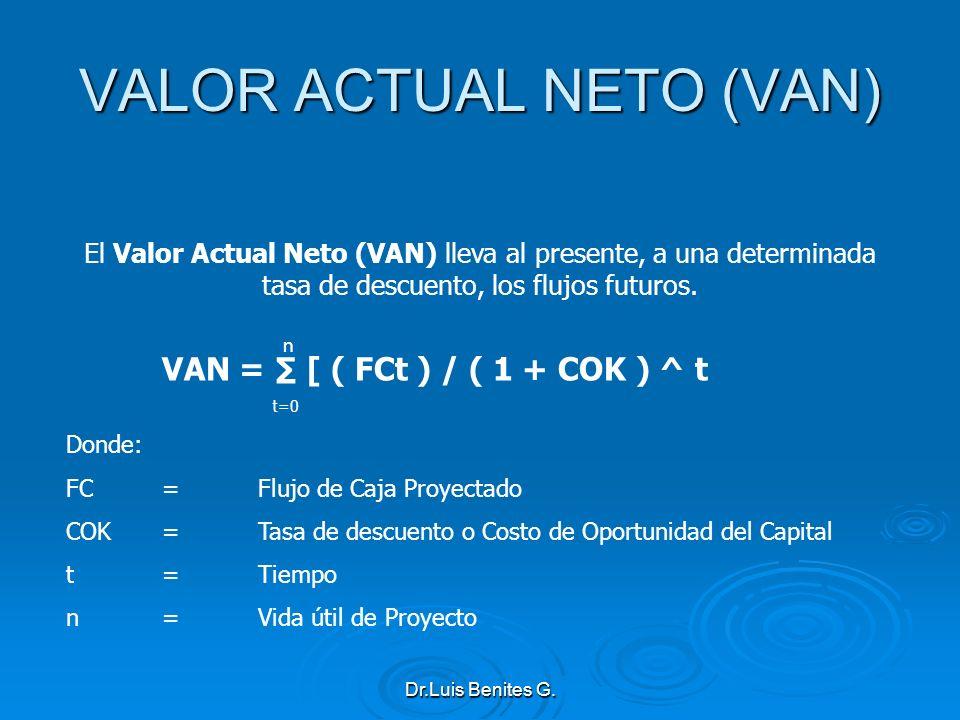 El Valor Actual Neto (VAN) lleva al presente, a una determinada tasa de descuento, los flujos futuros. VAN = [ ( FCt ) / ( 1 + COK ) ^ t t=0 Donde: FC