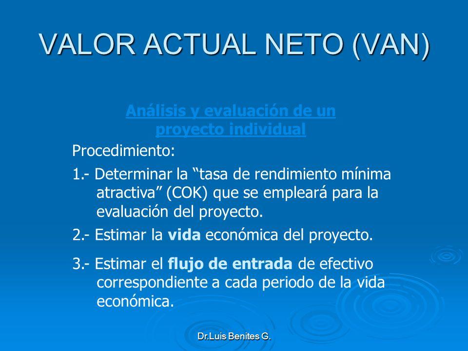 Análisis y evaluación de un proyecto individual 3.- Estimar el flujo de entrada de efectivo correspondiente a cada periodo de la vida económica. 2.- E