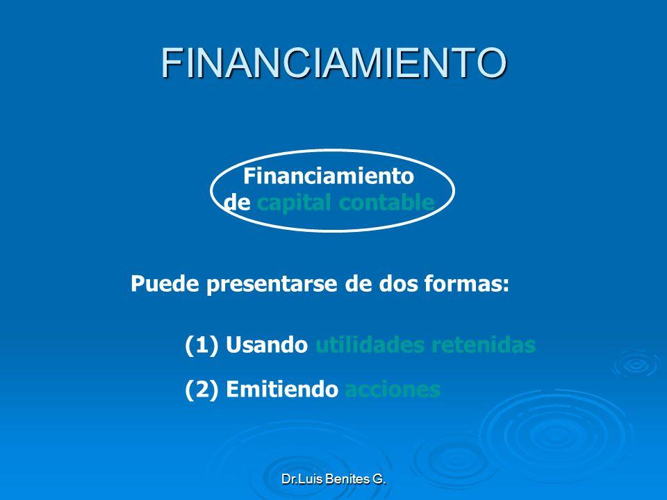 Puede presentarse de dos formas: (1) Usando utilidades retenidas (2) Emitiendo acciones Financiamiento de capital contable FINANCIAMIENTO Dr.Luis Beni