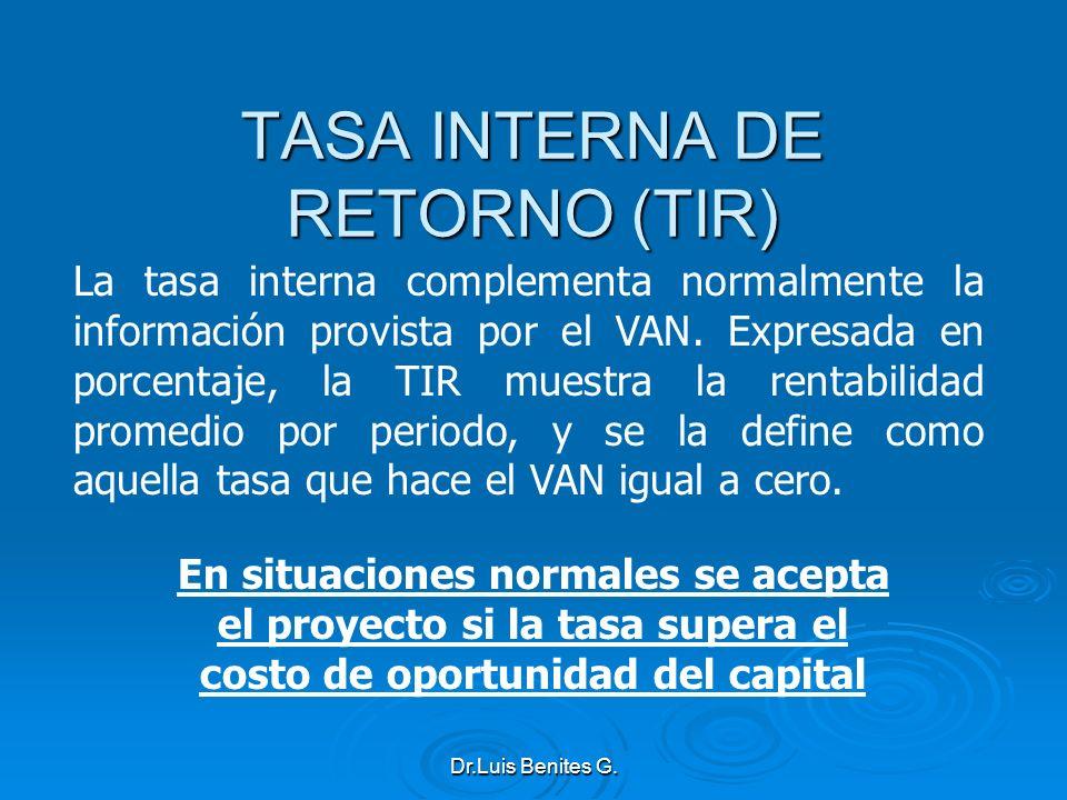 La tasa interna complementa normalmente la información provista por el VAN. Expresada en porcentaje, la TIR muestra la rentabilidad promedio por perio