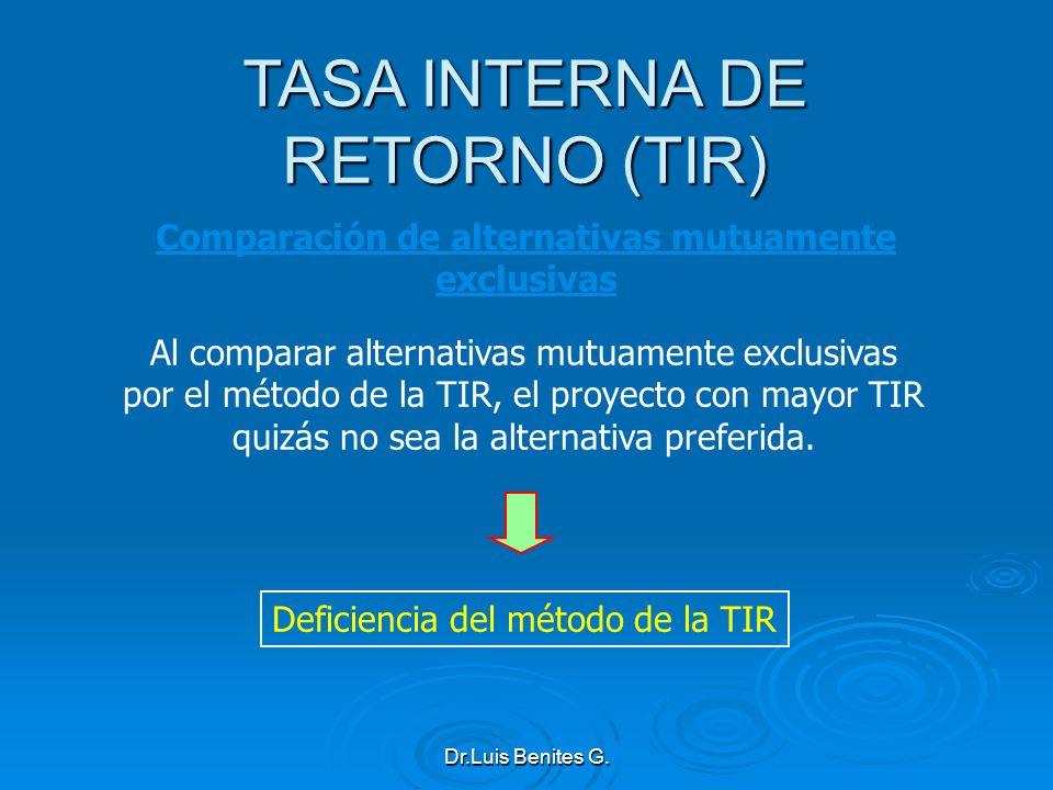 Comparación de alternativas mutuamente exclusivas Al comparar alternativas mutuamente exclusivas por el método de la TIR, el proyecto con mayor TIR qu