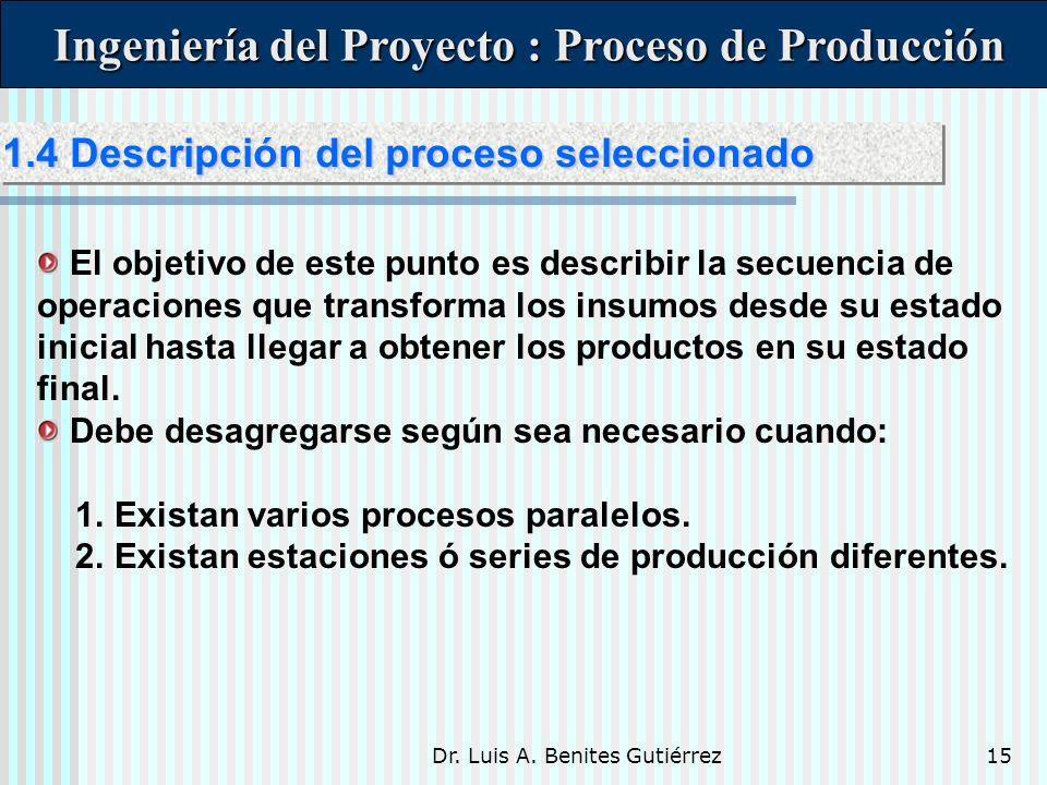 Dr. Luis A. Benites Gutiérrez15 Ingeniería del Proyecto : Proceso de Producción Ingeniería del Proyecto : Proceso de Producción El objetivo de este pu