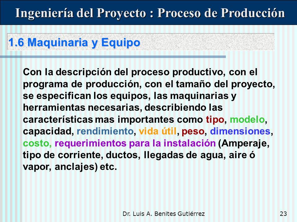 Dr. Luis A. Benites Gutiérrez23 1.6 Maquinaria y Equipo 1.6 Maquinaria y Equipo Ingeniería del Proyecto : Proceso de Producción Ingeniería del Proyect