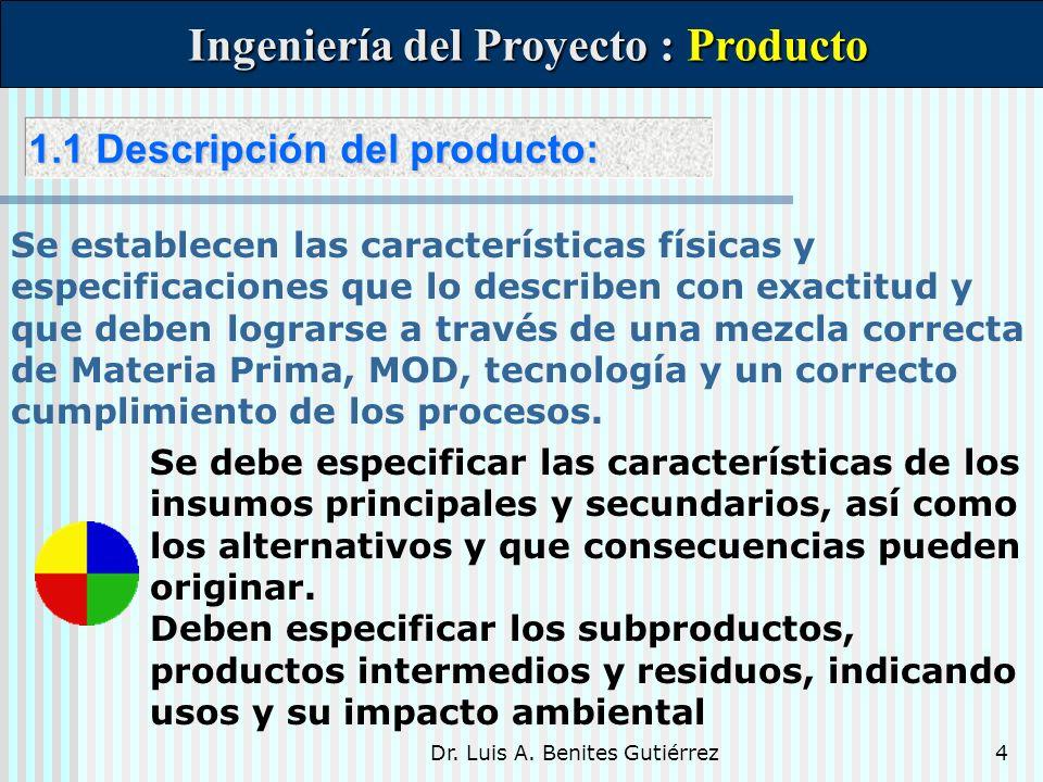 Dr. Luis A. Benites Gutiérrez4 1.1 Descripción del producto: 1.1 Descripción del producto: Ingeniería del Proyecto : Producto Ingeniería del Proyecto