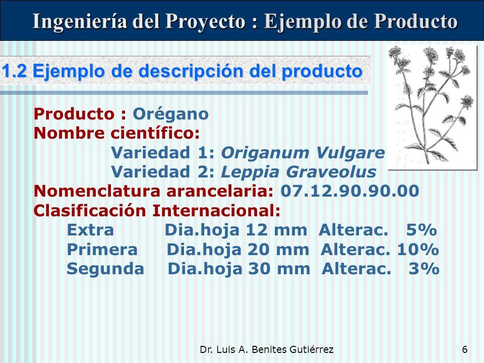 Dr. Luis A. Benites Gutiérrez6 1.2 Ejemplo de descripción del producto 1.2 Ejemplo de descripción del producto Ingeniería del Proyecto : Ejemplo de Pr