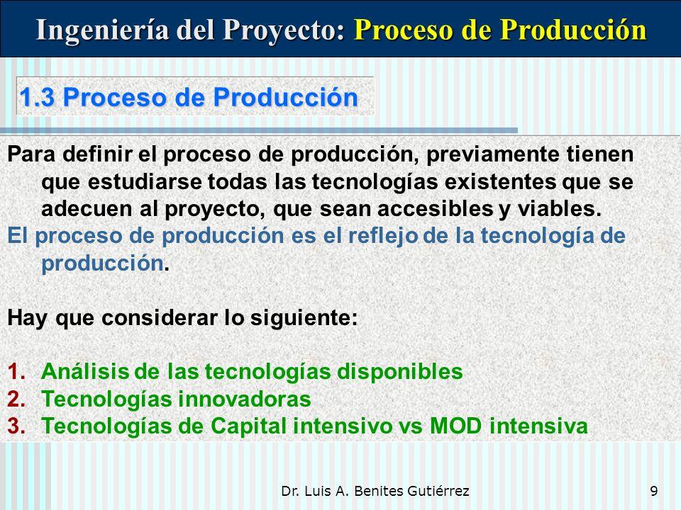 Dr. Luis A. Benites Gutiérrez9 1.3 Proceso de Producción 1.3 Proceso de Producción Para definir el proceso de producción, previamente tienen que estud