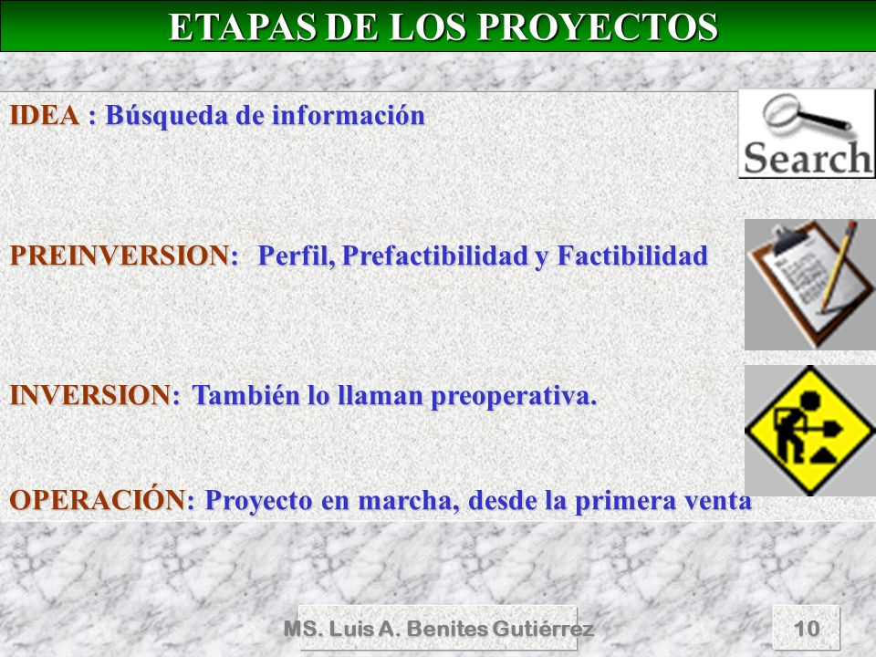 MS. Luis A. Benites Gutiérrez10 ETAPAS DE LOS PROYECTOS ETAPAS DE LOS PROYECTOS IDEA : Búsqueda de información PREINVERSION: Perfil, Prefactibilidad y