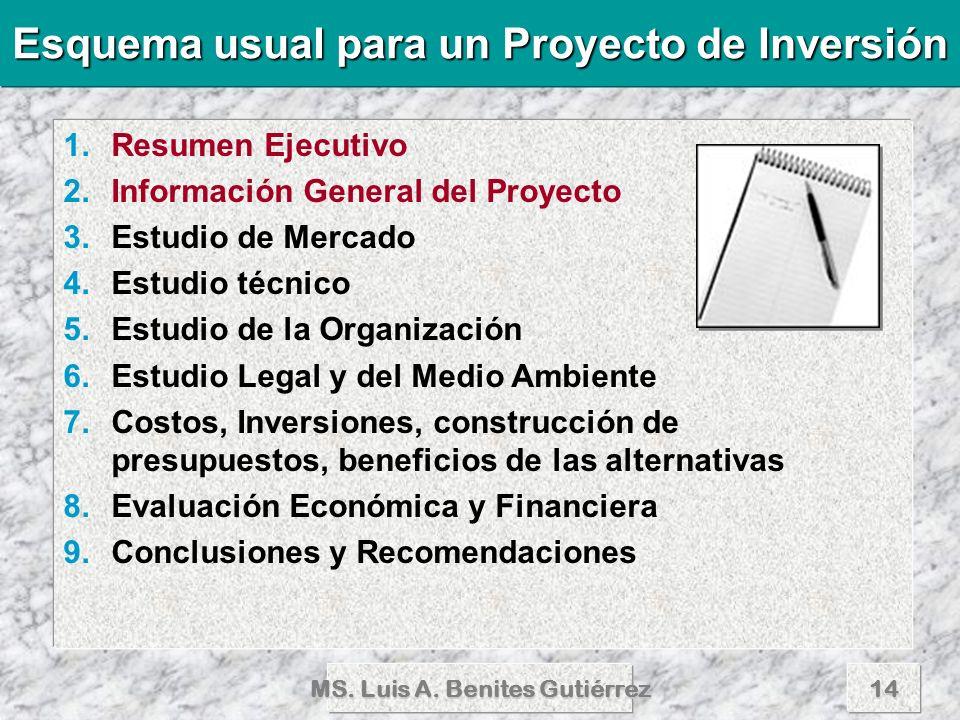 MS. Luis A. Benites Gutiérrez14 1.Resumen Ejecutivo 2.Información General del Proyecto 3.Estudio de Mercado 4.Estudio técnico 5.Estudio de la Organiza