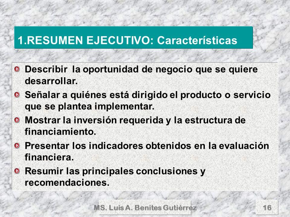 MS. Luis A. Benites Gutiérrez16 Describir la oportunidad de negocio que se quiere desarrollar. Señalar a quiénes está dirigido el producto o servicio