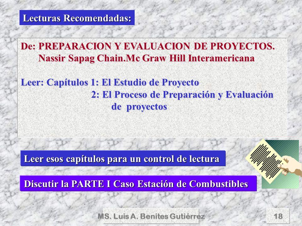 MS. Luis A. Benites Gutiérrez18 Lecturas Recomendadas: De: PREPARACION Y EVALUACION DE PROYECTOS. Nassir Sapag Chain.Mc Graw Hill Interamericana Nassi