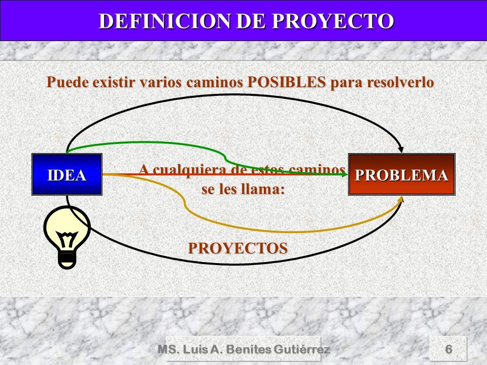MS. Luis A. Benites Gutiérrez6 A cualquiera de estos caminos se les llama: DEFINICION DE PROYECTO DEFINICION DE PROYECTO IDEAPROBLEMA Puede existir va