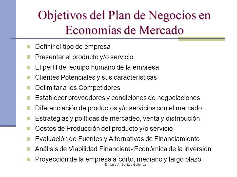 Dr. Luis A. Benites Gutiérrez Objetivos del Plan de Negocios en Economías de Mercado Definir el tipo de empresa Presentar el producto y/o servicio El