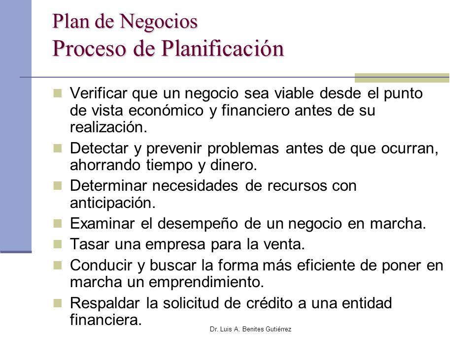 Dr. Luis A. Benites Gutiérrez Plan de Negocios Proceso de Planificación Verificar que un negocio sea viable desde el punto de vista económico y financ