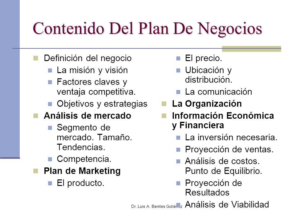 Dr. Luis A. Benites Gutiérrez Contenido Del Plan De Negocios Definición del negocio La misión y visión Factores claves y ventaja competitiva. Objetivo