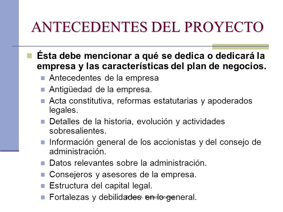 Dr. Luis A. Benites Gutiérrez ANTECEDENTES DEL PROYECTO Ésta debe mencionar a qué se dedica o dedicará la empresa y las características del plan de ne