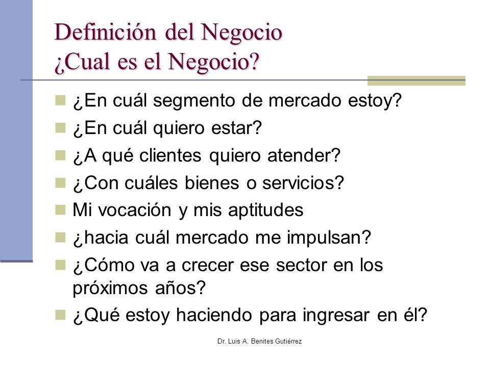 Dr. Luis A. Benites Gutiérrez Definición del Negocio ¿Cual es el Negocio? ¿En cuál segmento de mercado estoy? ¿En cuál quiero estar? ¿A qué clientes q