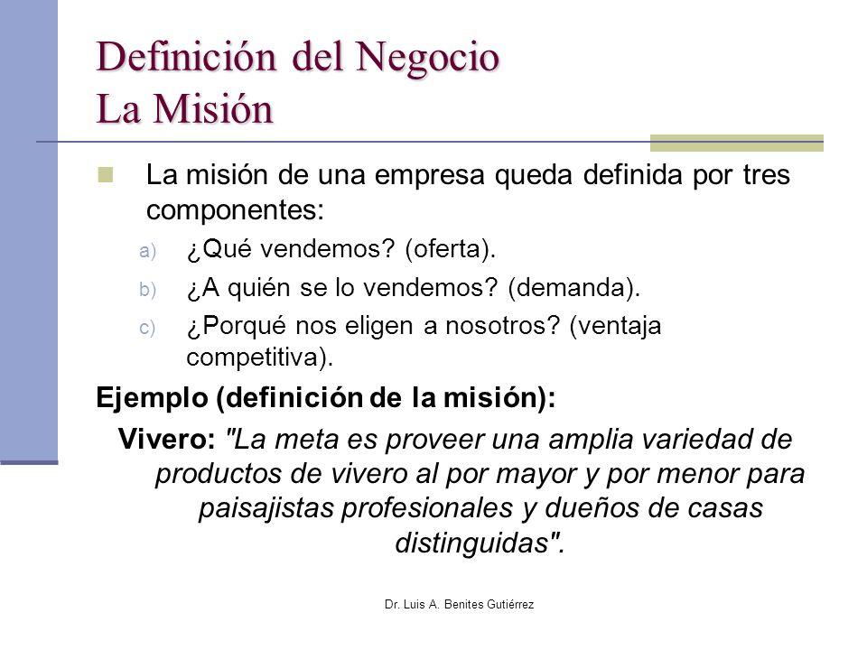Dr. Luis A. Benites Gutiérrez Definición del Negocio La Misión La misión de una empresa queda definida por tres componentes: a) ¿Qué vendemos? (oferta