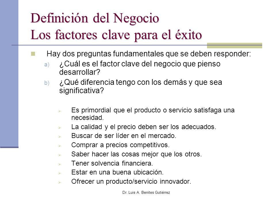 Dr. Luis A. Benites Gutiérrez Definición del Negocio Los factores clave para el éxito Hay dos preguntas fundamentales que se deben responder: a) ¿Cuál