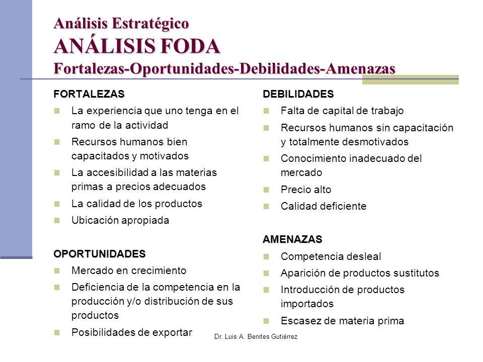 Dr. Luis A. Benites Gutiérrez Análisis Estratégico ANÁLISIS FODA Fortalezas-Oportunidades-Debilidades-Amenazas FORTALEZAS La experiencia que uno tenga