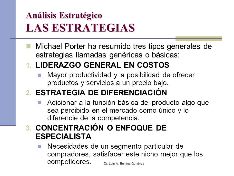 Dr. Luis A. Benites Gutiérrez Análisis Estratégico LAS ESTRATEGIAS Michael Porter ha resumido tres tipos generales de estrategias llamadas genéricas o