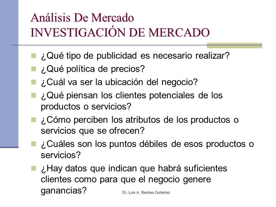 Dr. Luis A. Benites Gutiérrez Análisis De Mercado INVESTIGACIÓN DE MERCADO ¿Qué tipo de publicidad es necesario realizar? ¿Qué política de precios? ¿C