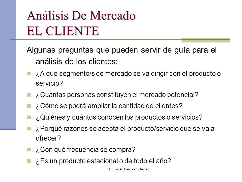 Dr. Luis A. Benites Gutiérrez Análisis De Mercado EL CLIENTE Algunas preguntas que pueden servir de guía para el análisis de los clientes: ¿A que segm