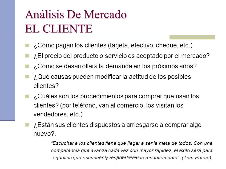 Dr. Luis A. Benites Gutiérrez Análisis De Mercado EL CLIENTE ¿Cómo pagan los clientes (tarjeta, efectivo, cheque, etc.) ¿El precio del producto o serv