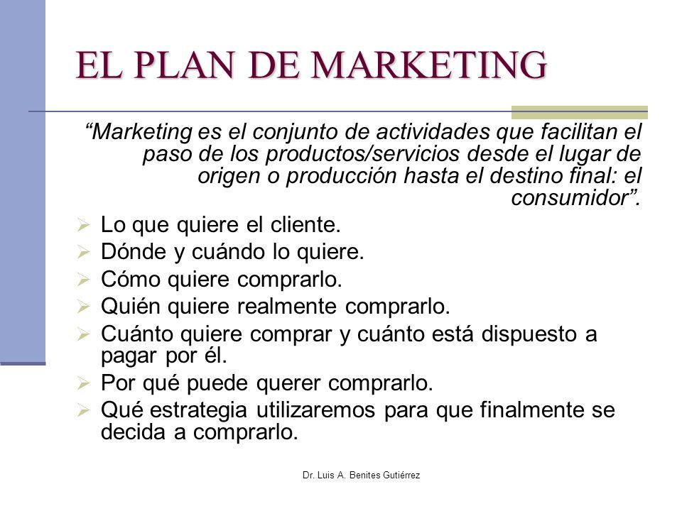 Dr. Luis A. Benites Gutiérrez EL PLAN DE MARKETING Marketing es el conjunto de actividades que facilitan el paso de los productos/servicios desde el l