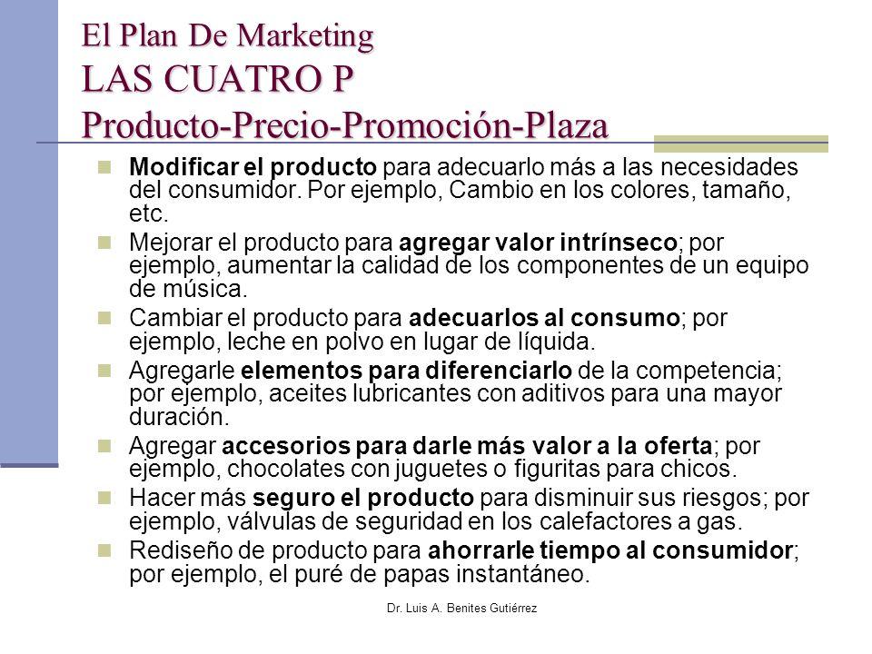Dr. Luis A. Benites Gutiérrez El Plan De Marketing LAS CUATRO P Producto-Precio-Promoción-Plaza Modificar el producto para adecuarlo más a las necesid
