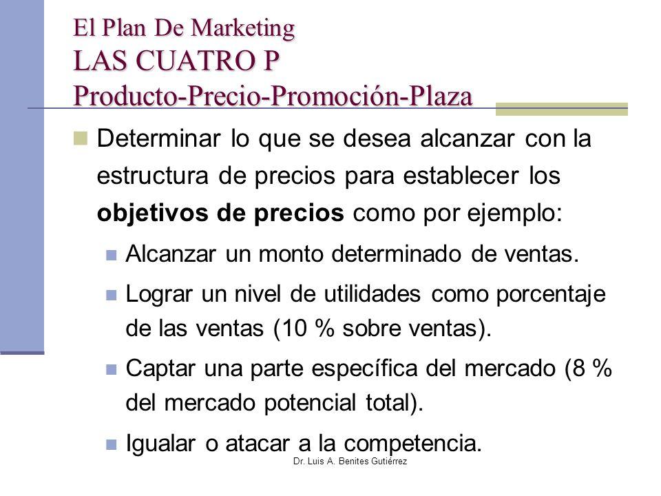 Dr. Luis A. Benites Gutiérrez El Plan De Marketing LAS CUATRO P Producto-Precio-Promoción-Plaza Determinar lo que se desea alcanzar con la estructura