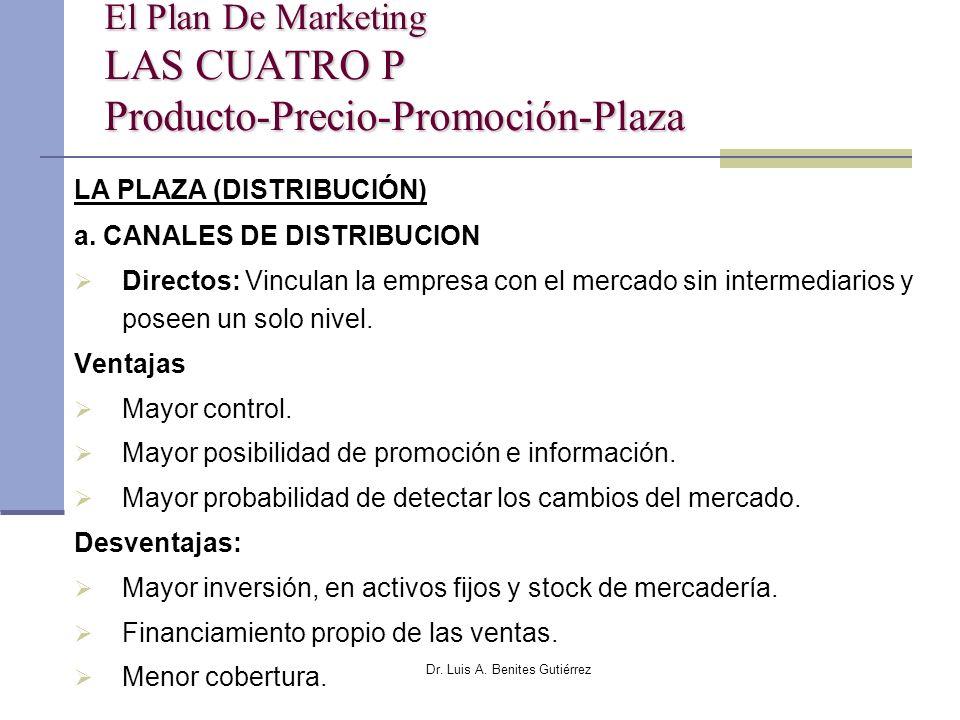 Dr. Luis A. Benites Gutiérrez El Plan De Marketing LAS CUATRO P Producto-Precio-Promoción-Plaza LA PLAZA (DISTRIBUCIÓN) a. CANALES DE DISTRIBUCION Dir