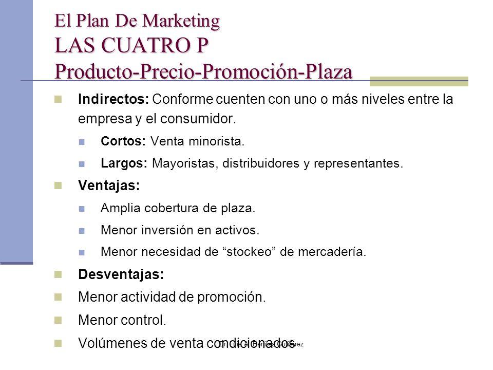 Dr. Luis A. Benites Gutiérrez El Plan De Marketing LAS CUATRO P Producto-Precio-Promoción-Plaza Indirectos: Conforme cuenten con uno o más niveles ent