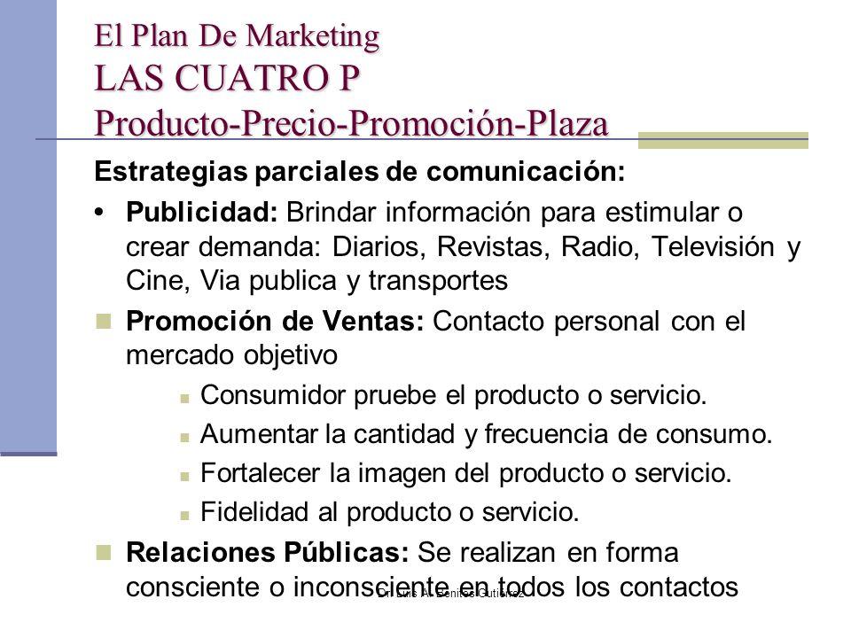 Dr. Luis A. Benites Gutiérrez El Plan De Marketing LAS CUATRO P Producto-Precio-Promoción-Plaza Estrategias parciales de comunicación: Publicidad: Bri