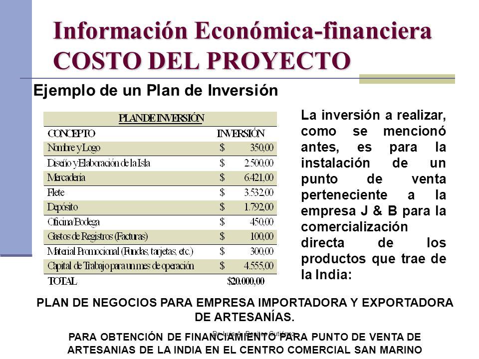 Dr. Luis A. Benites Gutiérrez Información Económica-financiera COSTO DEL PROYECTO Ejemplo de un Plan de Inversión La inversión a realizar, como se men