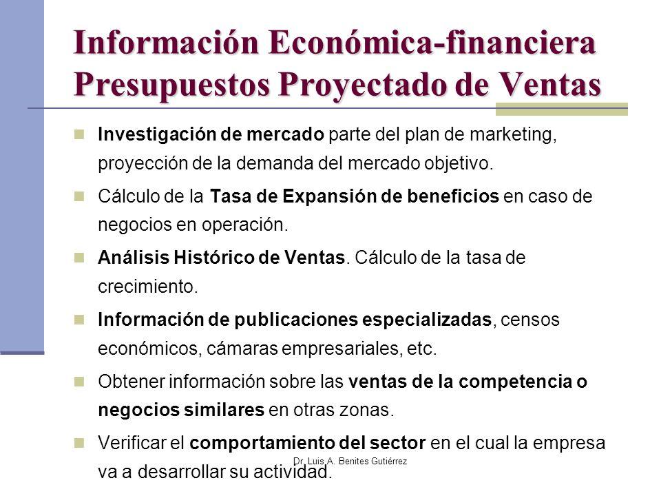 Dr. Luis A. Benites Gutiérrez Información Económica-financiera Presupuestos Proyectado de Ventas Investigación de mercado parte del plan de marketing,