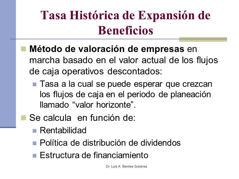 Dr. Luis A. Benites Gutiérrez Tasa Histórica de Expansión de Beneficios Método de valoración de empresas en marcha basado en el valor actual de los fl