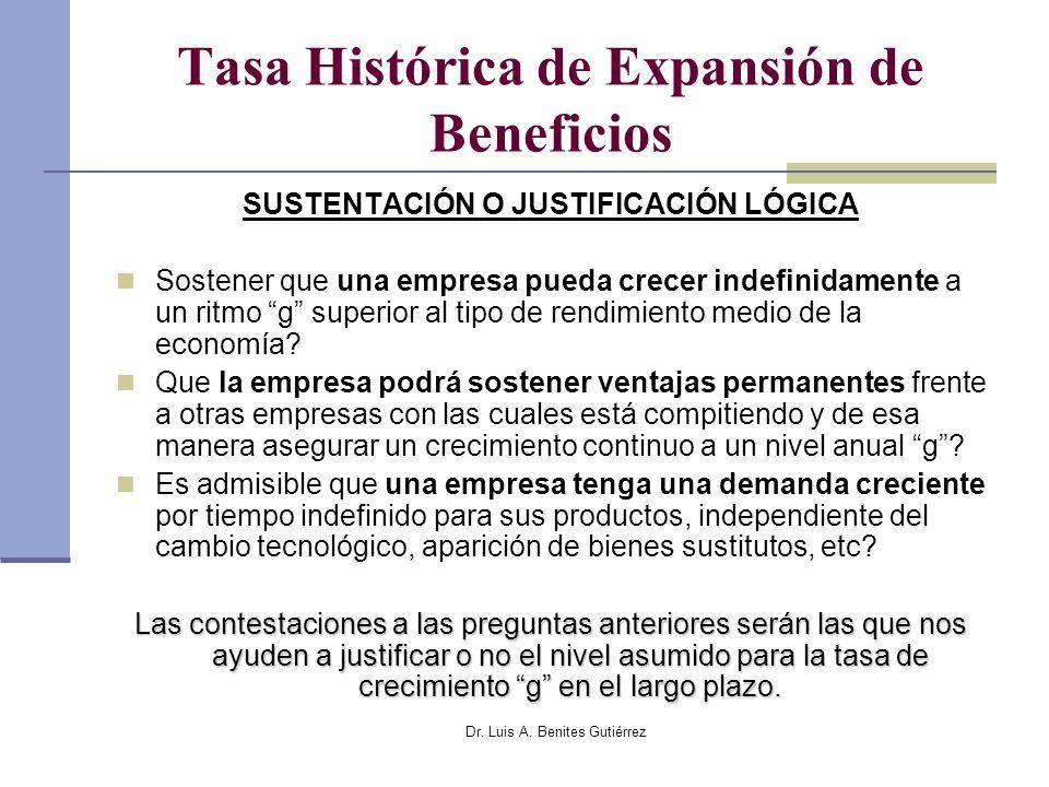 Dr. Luis A. Benites Gutiérrez Tasa Histórica de Expansión de Beneficios SUSTENTACIÓN O JUSTIFICACIÓN LÓGICA Sostener que una empresa pueda crecer inde