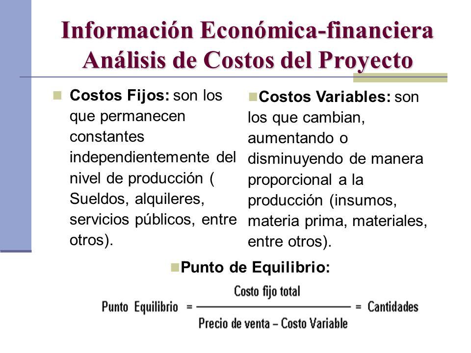 Dr. Luis A. Benites Gutiérrez Información Económica-financiera Análisis de Costos del Proyecto Costos Fijos: son los que permanecen constantes indepen